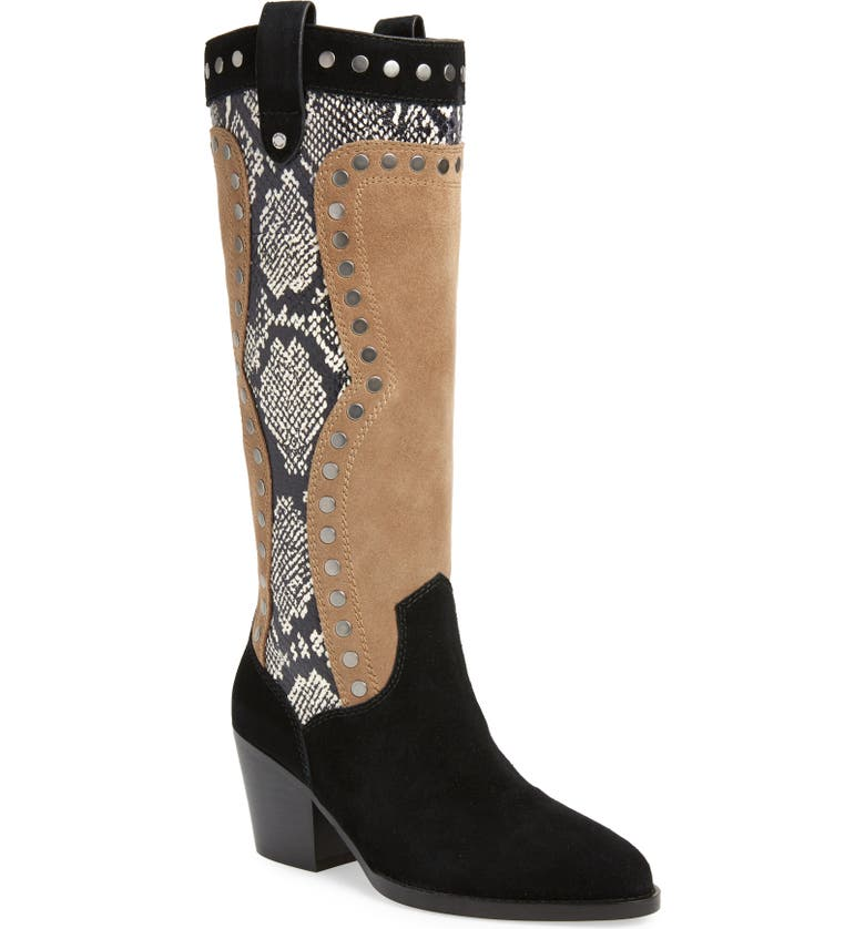 COACH Payton Knee High Western Boot, Main, color, BLACK/ MUSHROOM LEATHER
