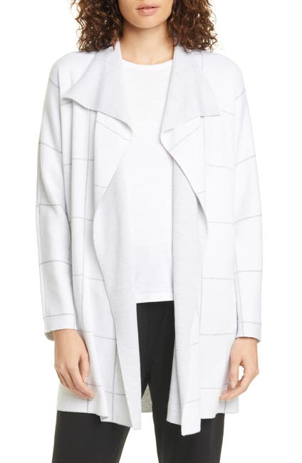 Image of Eileen Fisher Windowpane Check Double Knit Cardigan