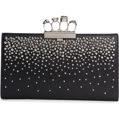 Alexander Mcqueen Four Ring Studded Knuckle Clasp Leather Clutch - Black