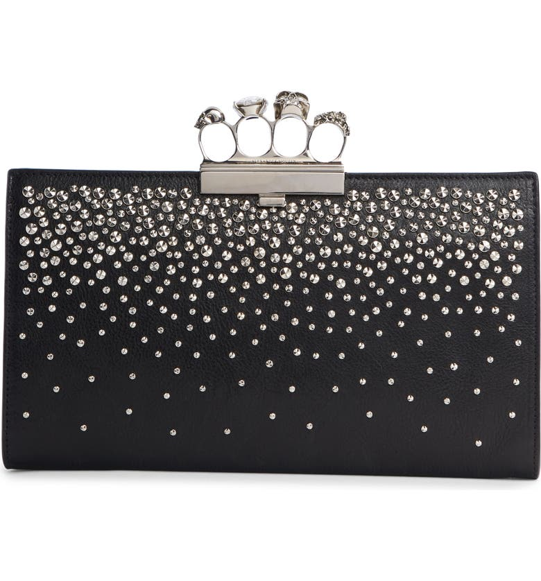 ALEXANDER MCQUEEN Four Ring Studded Knuckle Clasp Leather Clutch, Main, color, BLACK