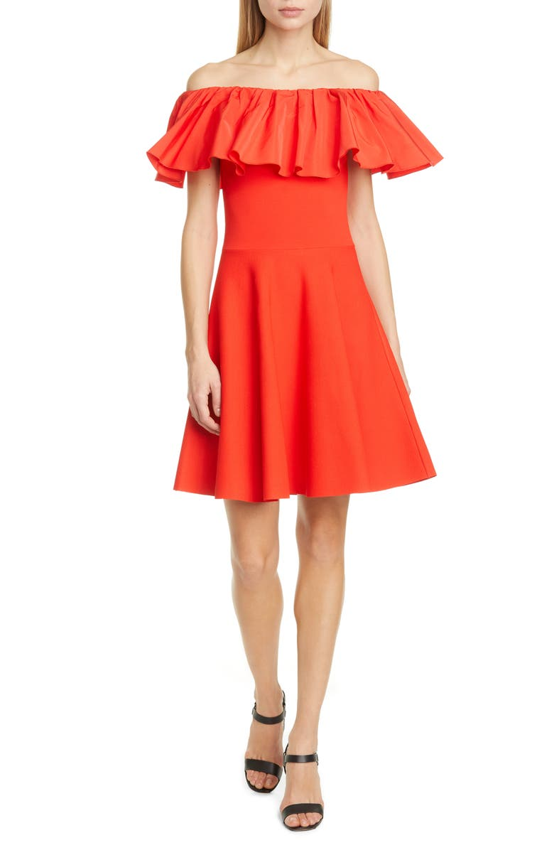 VALENTINO Ruffle Off the Shoulder Minidress, Main, color, 600