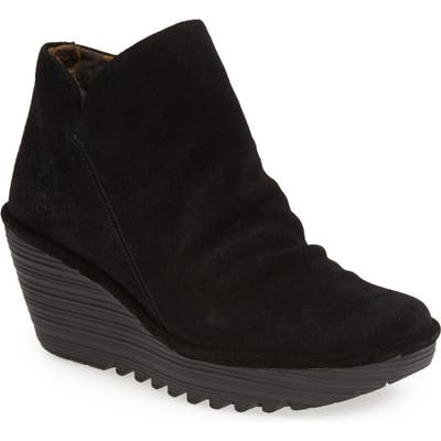 Fly London Yip Wedge Bootie-8 W - Black