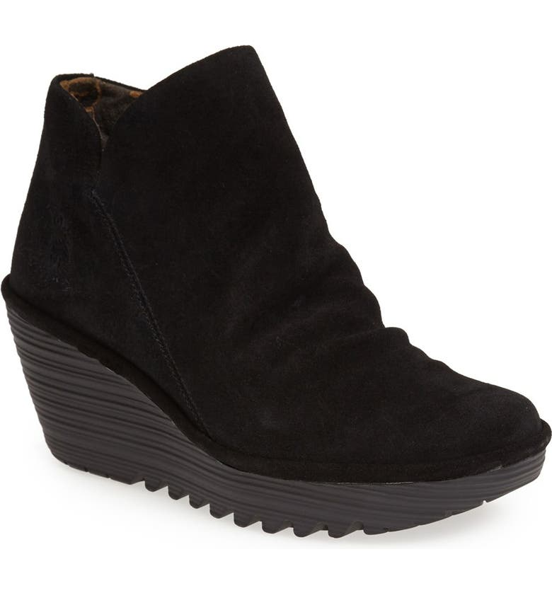 FLY LONDON Yip Wedge Bootie, Main, color, BLACK OIL SUEDE
