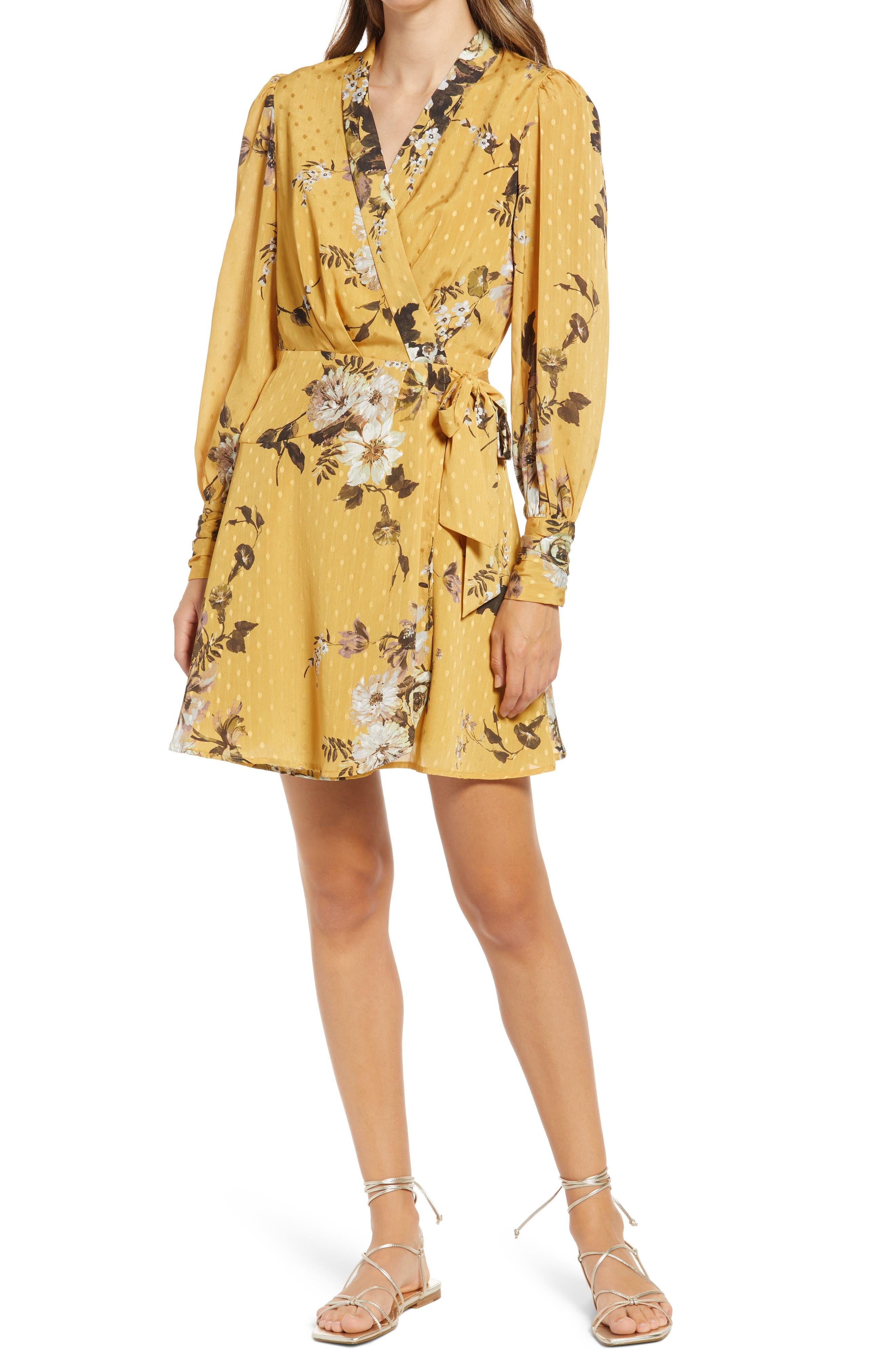 Floral Long Sleeve Wrap Minidress
