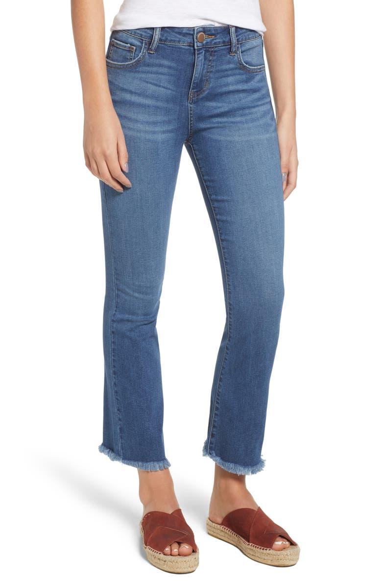 PROSPERITY DENIM High Waist Crop Flare Jeans, Main, color, COOL GIRL MED WASH