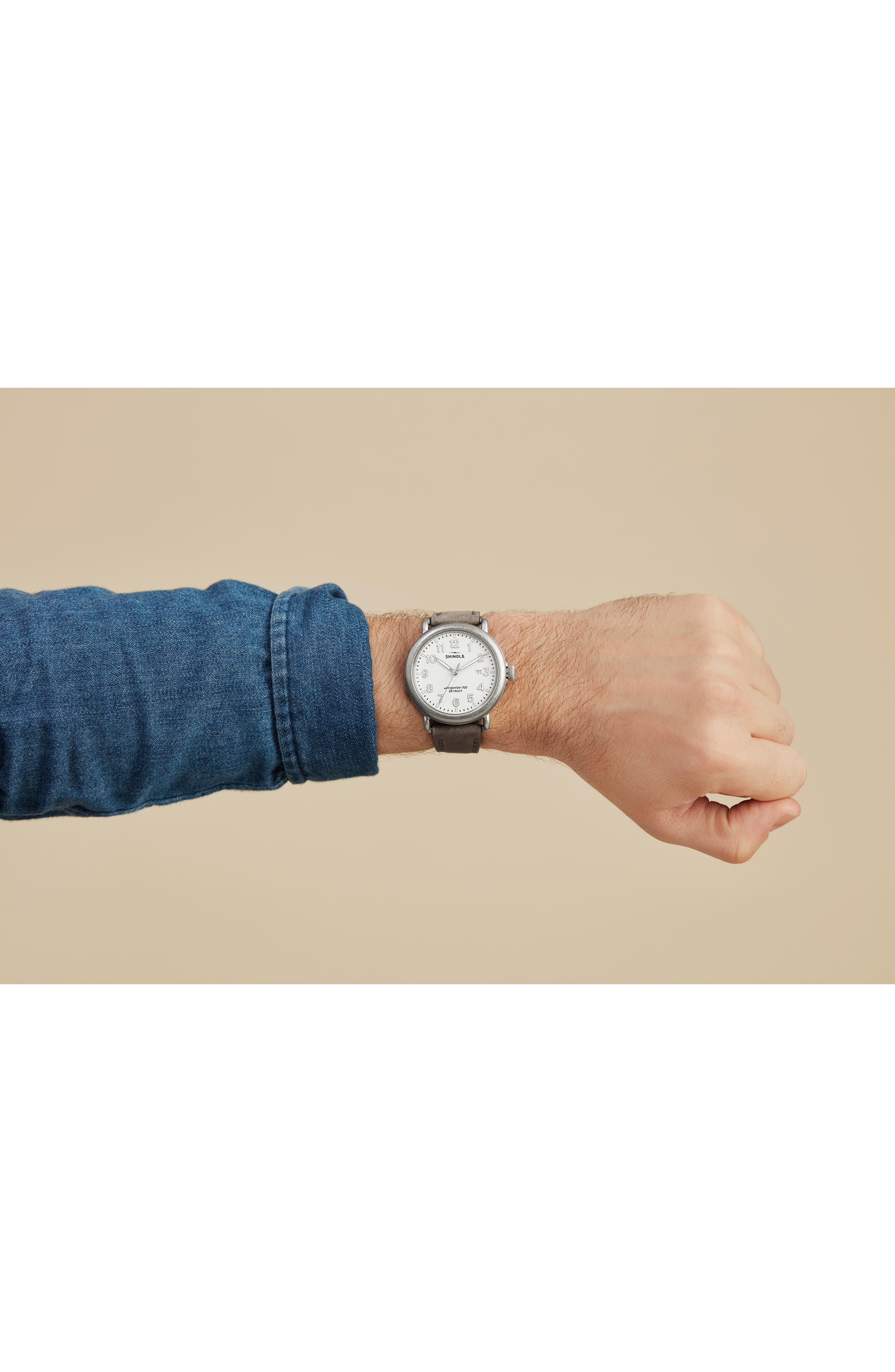 ,                             'Runwell' Leather Strap Watch, 41mm,                             Alternate thumbnail 2, color,                             HEATHER/ IVORY/ SILVER
