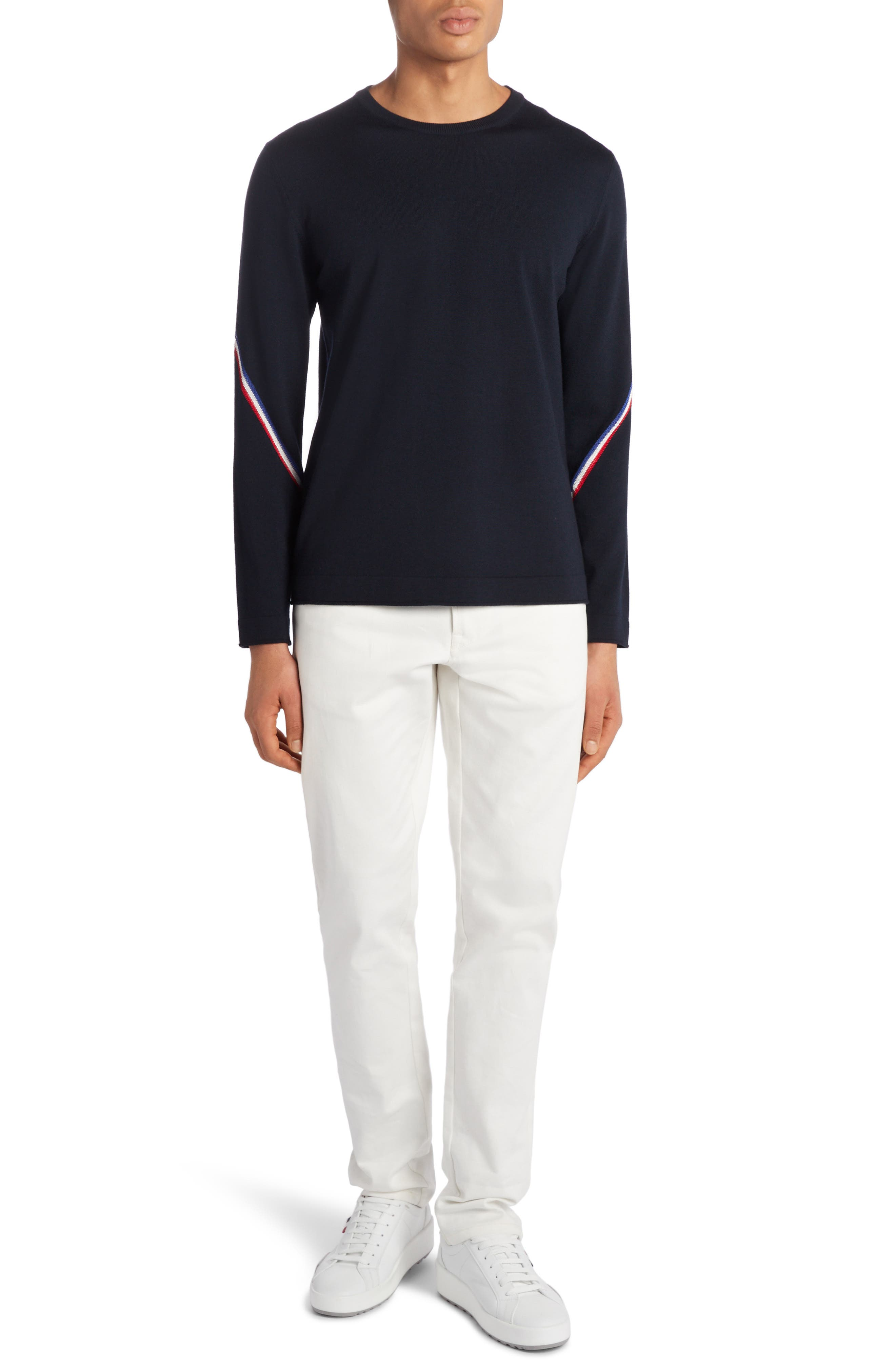 Bands of signature French tricolors angle up the sleeves of a lightweight crewneck sweater styled in a fit that layers easily and looks smart on its own. Style Name: Moncler Crewneck Sweater. Style Number: 6064947. Available in stores.