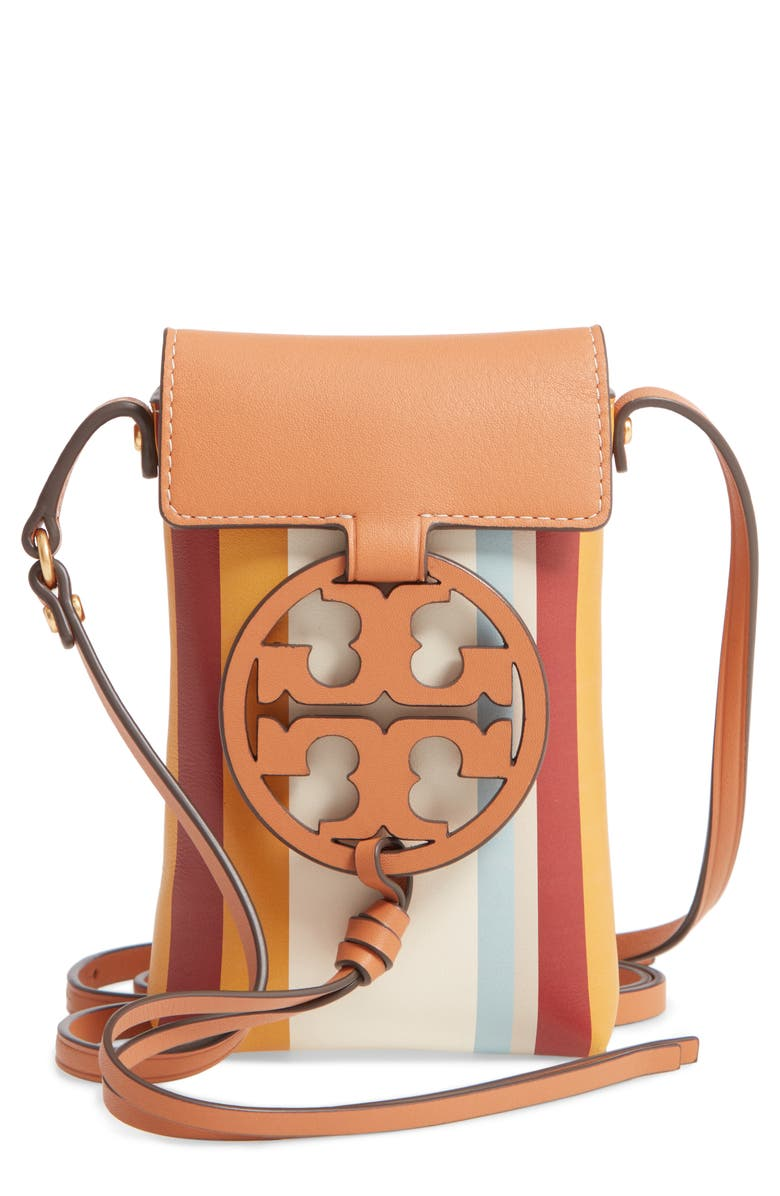 TORY BURCH Miller Stripe Leather Phone Crossbody Bag, Main, color, MILLER STRIPE
