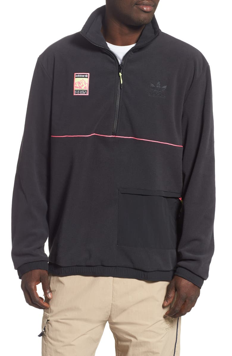 ADIDAS ORIGINALS Adiplore Pack Fleece Half Zip Pullover, Main, color, BLACK