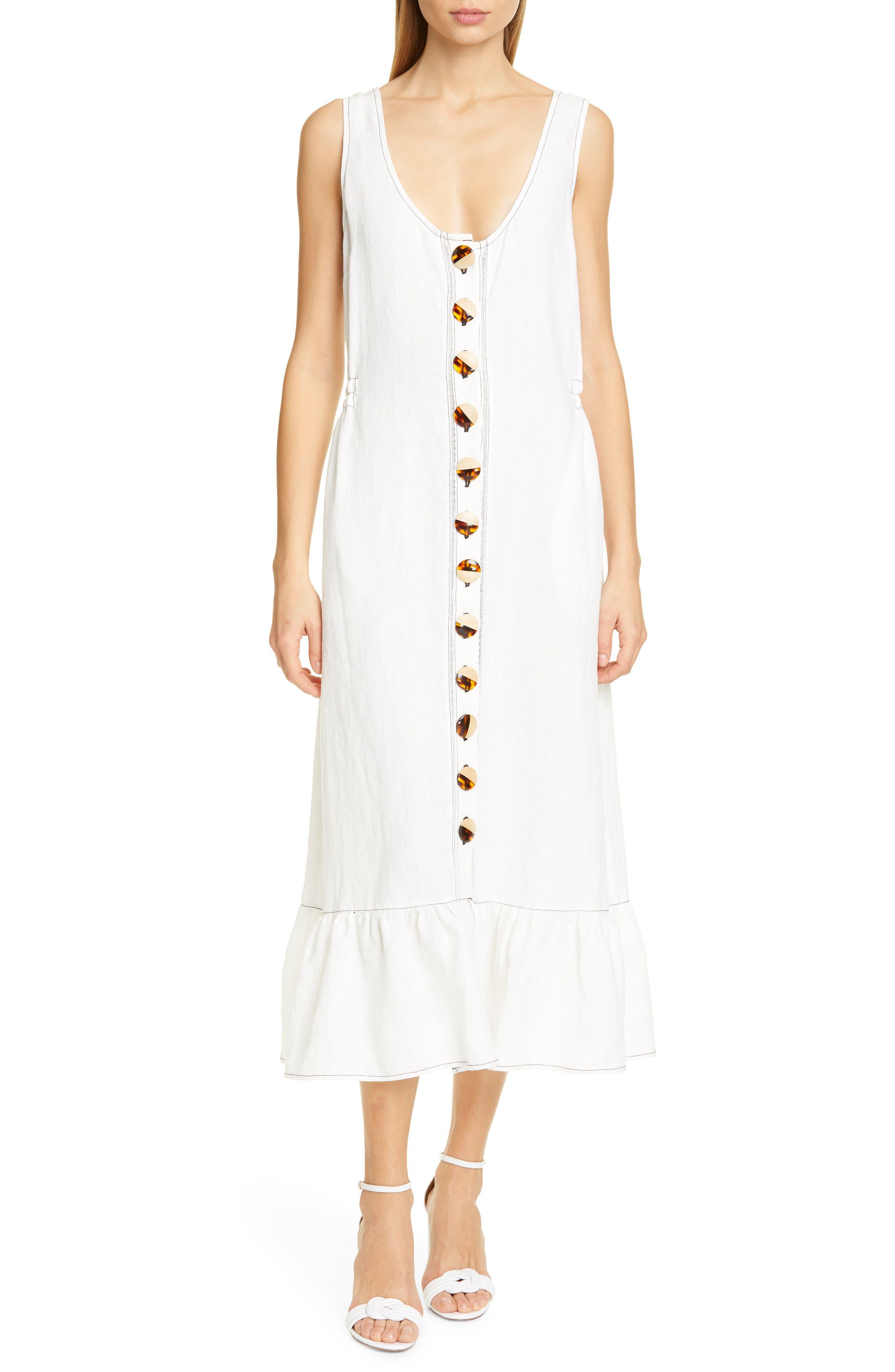 Nicholas Garden Button Front Linen Midi Dress, Ivory