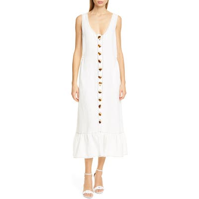 Nicholas Garden Button Front Linen Midi Dress, Ivory