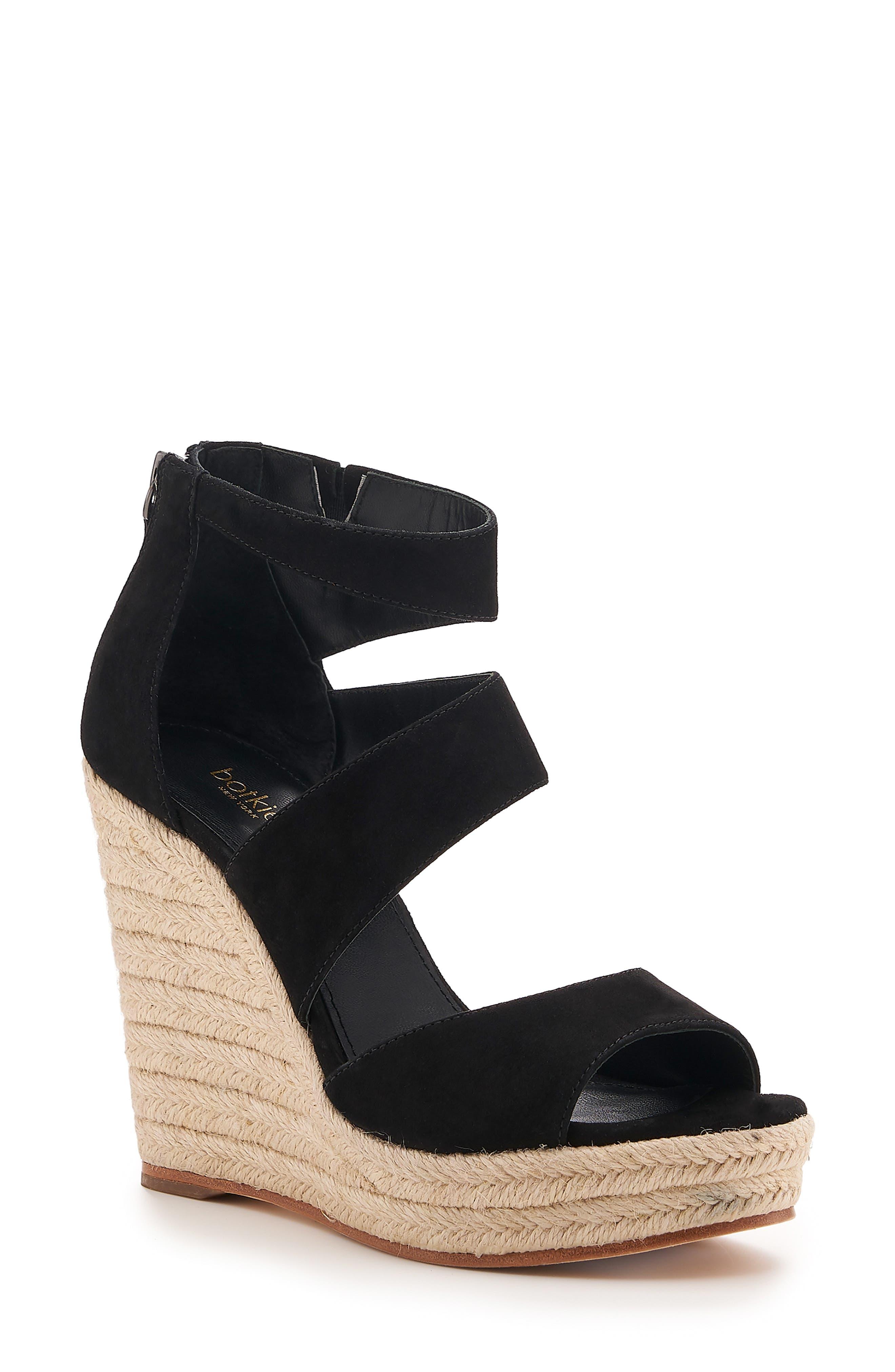 Julian Espadrille Wedge Sandal, Main, color, BLACK SUEDE