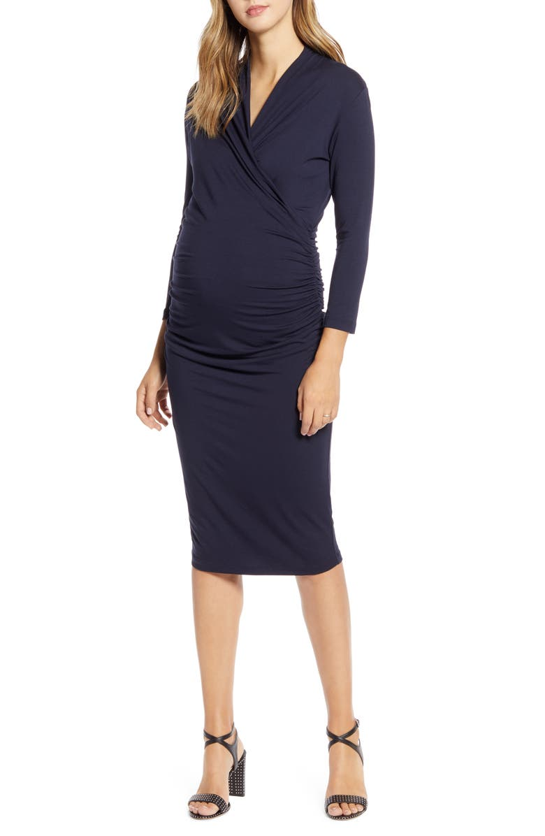 ISABELLA OLIVER Balcombe Ruched Maternity Dress, Main, color, CLASSIC NAVY