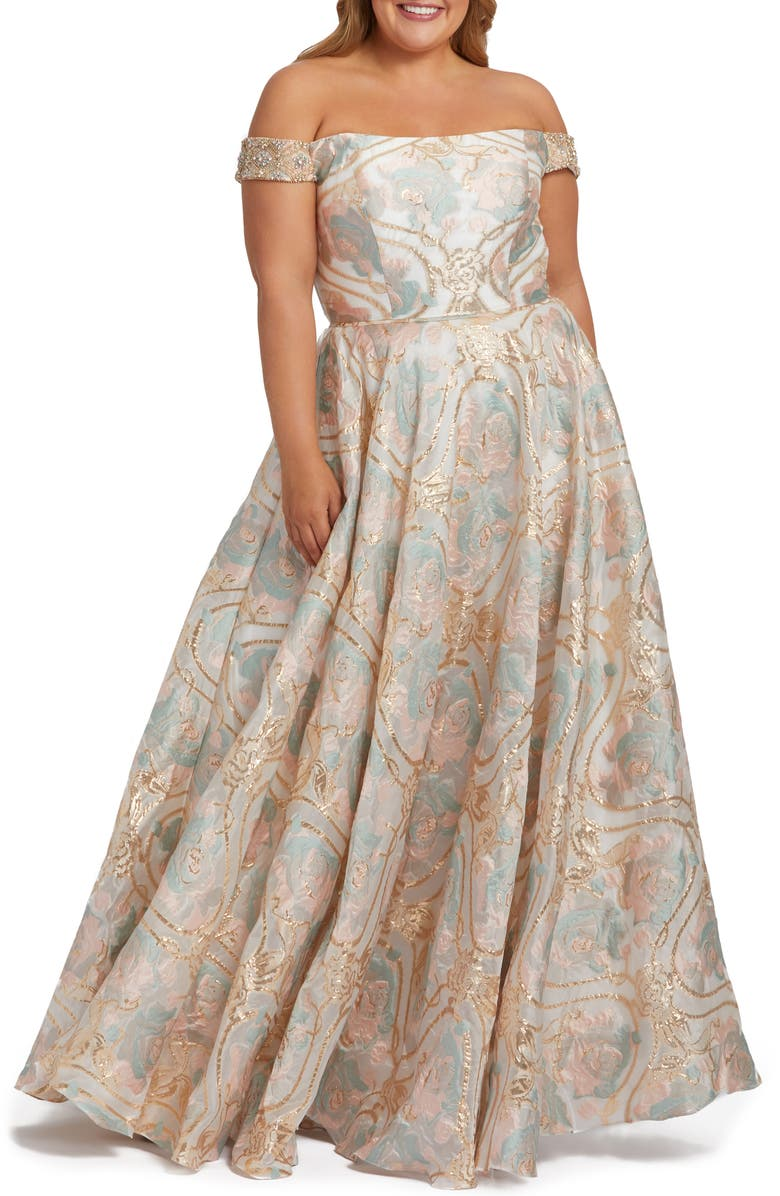 MAC DUGGAL Metallic Floral Jacquard Off the Shoulder Ballgown, Main, color, PASTEL