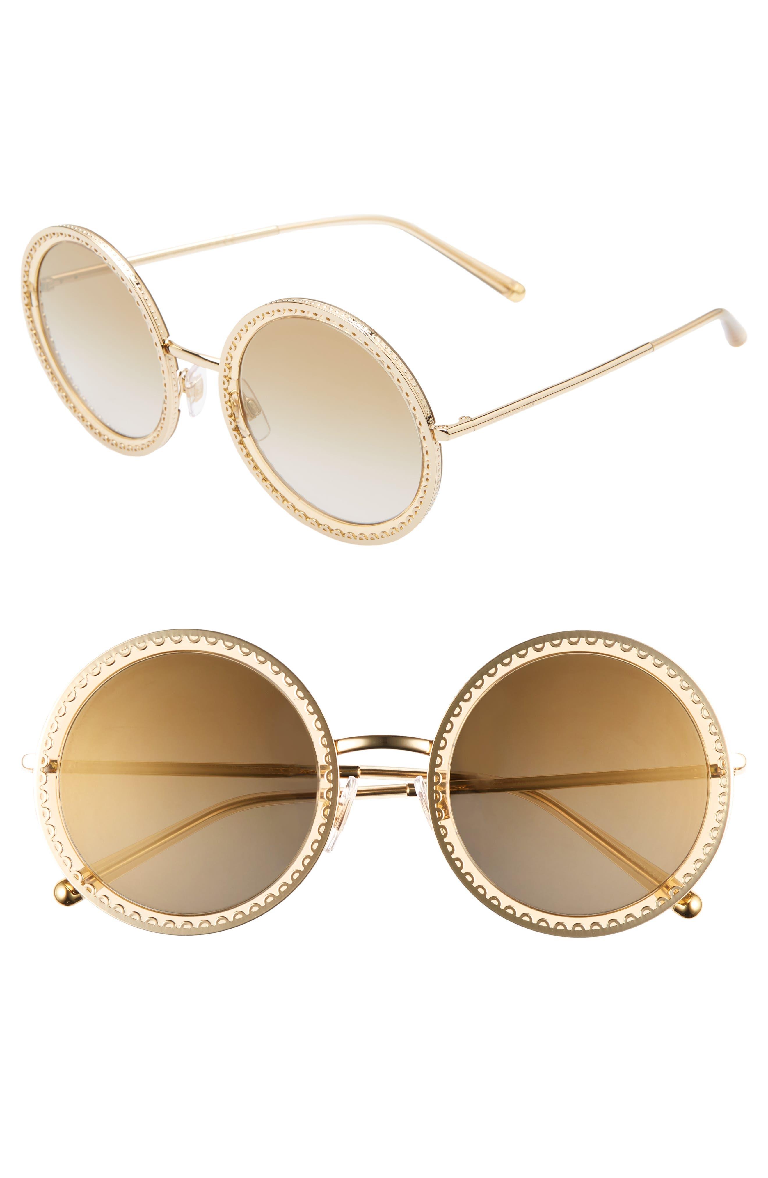 Dolce & gabbana Sacred Heart 5m Gradient Round Sunglasses - Gold Brown Gradient Mirror