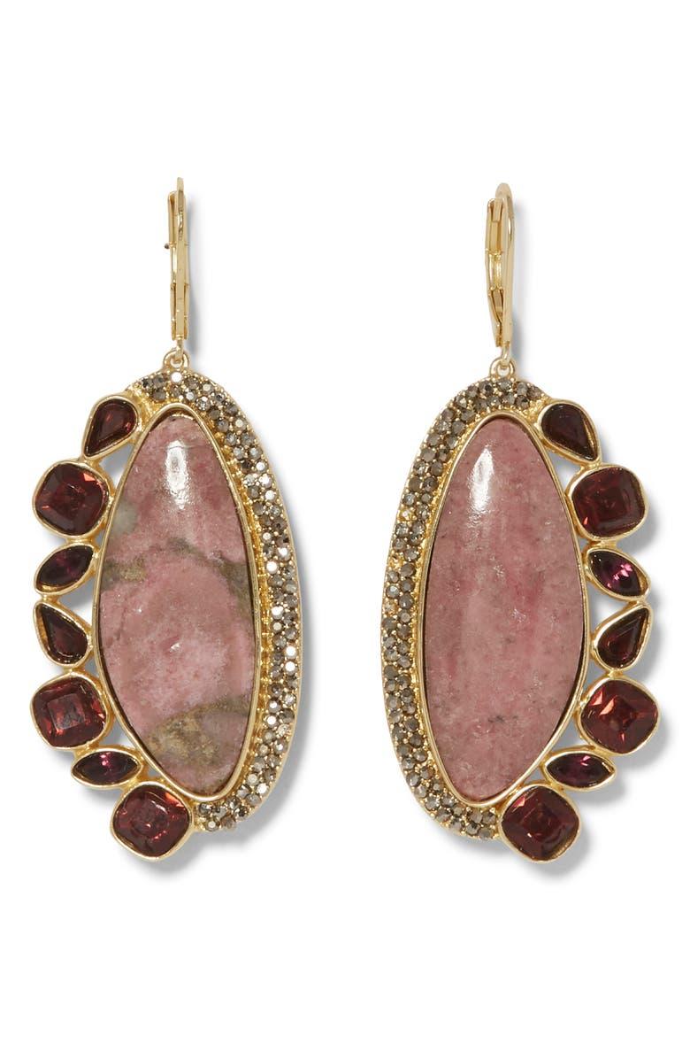 SOLE SOCIETY Drama Stone Drop Earrings, Main, color, 12K GOLD/BURG/HEM/PNK AVENT