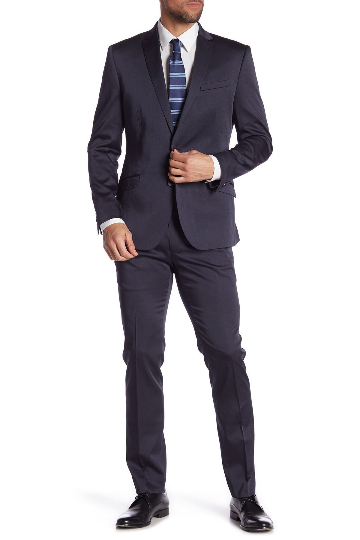 Image of Kenneth Cole Reaction Navy Solid Two Button Notch Lapel Slim Fit Suit