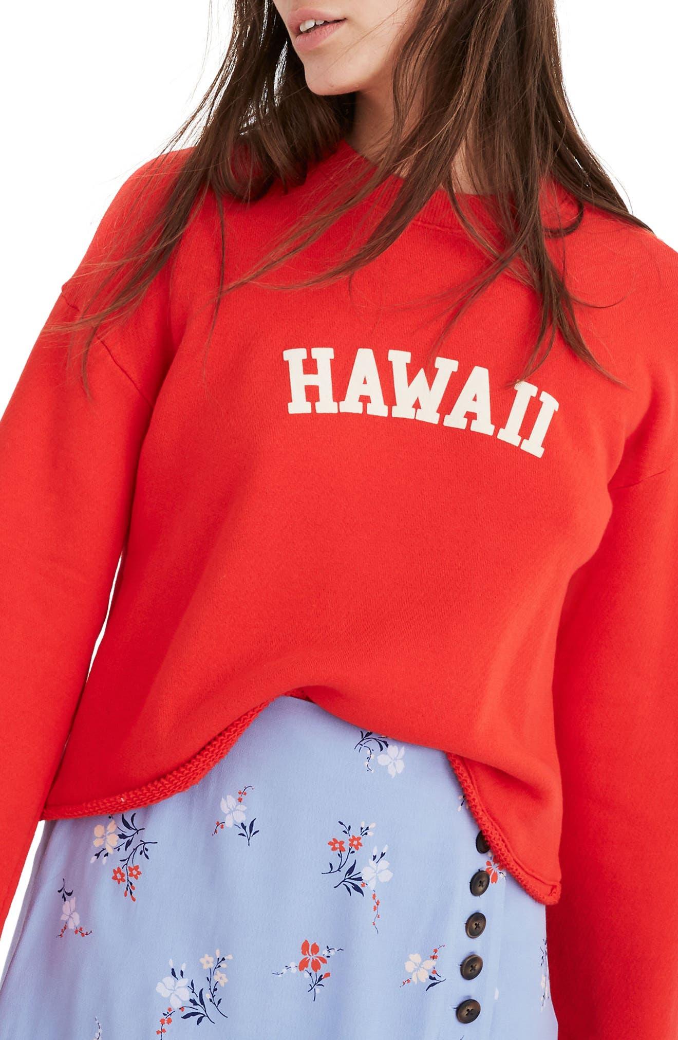 Madewell Hawaii Bell Sleeve Sweatshirt, Red