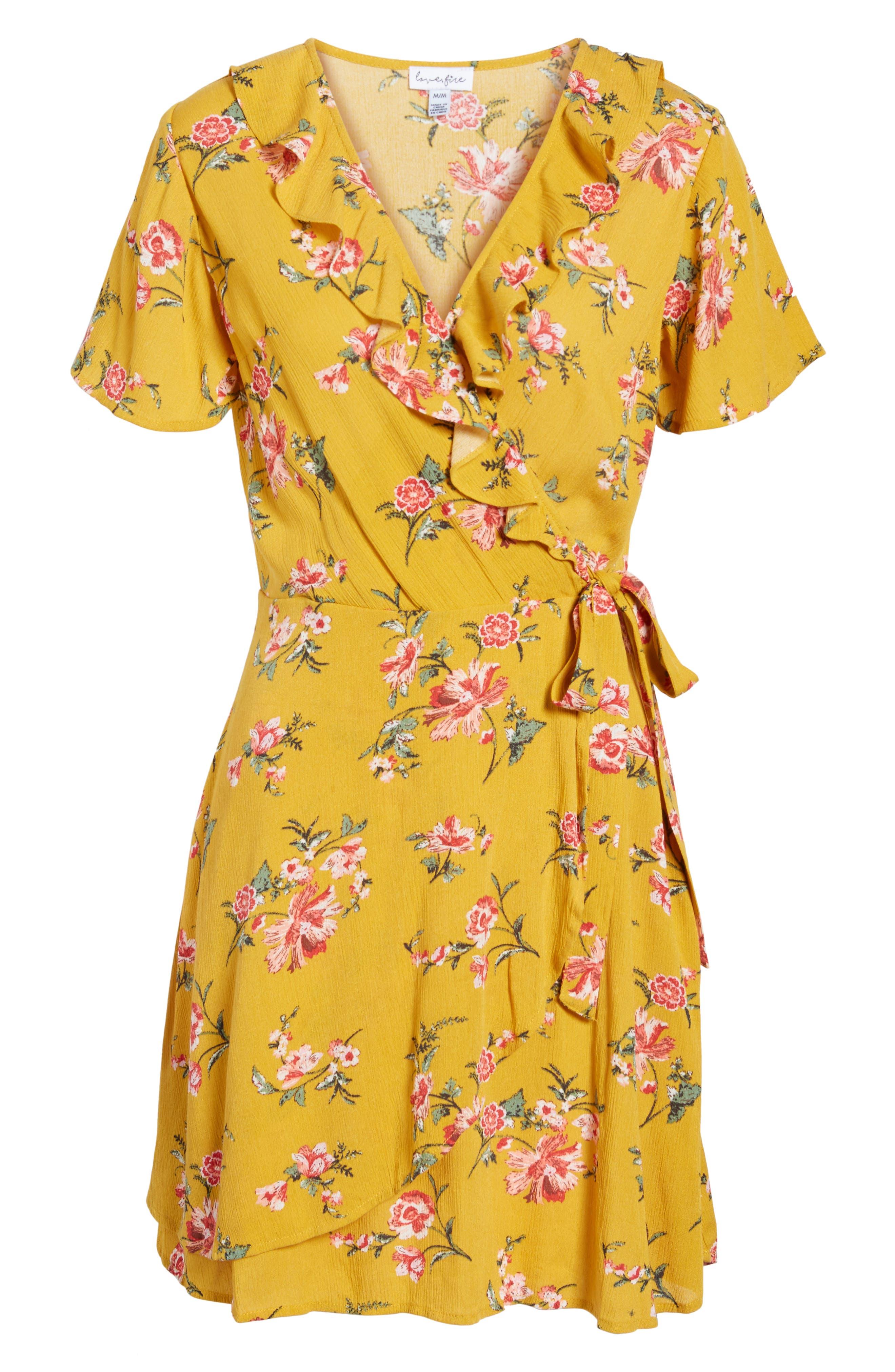 ,                             Floral Gauze Wrap Dress,                             Alternate thumbnail 12, color,                             752