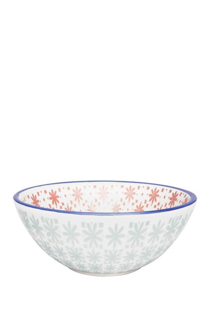 Image of Manhattan Comfort Full Bowl 6 Large Dinner 20.29 oz. Soup Bowls - Blue and Pink
