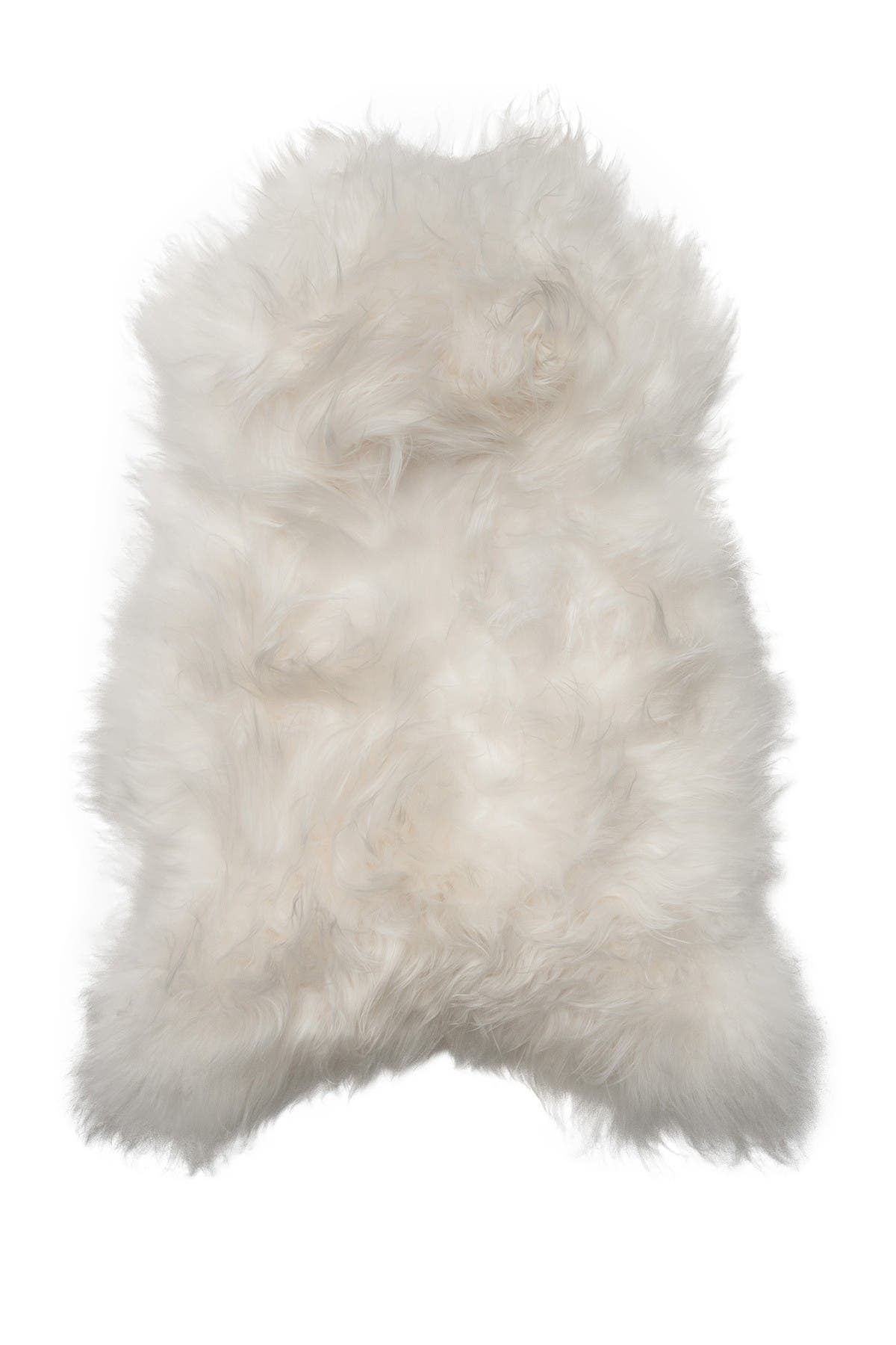 Image of Natural Genuine Icelandic Sheepskin Single Long-Haired Rug - 2ft x 3ft - White
