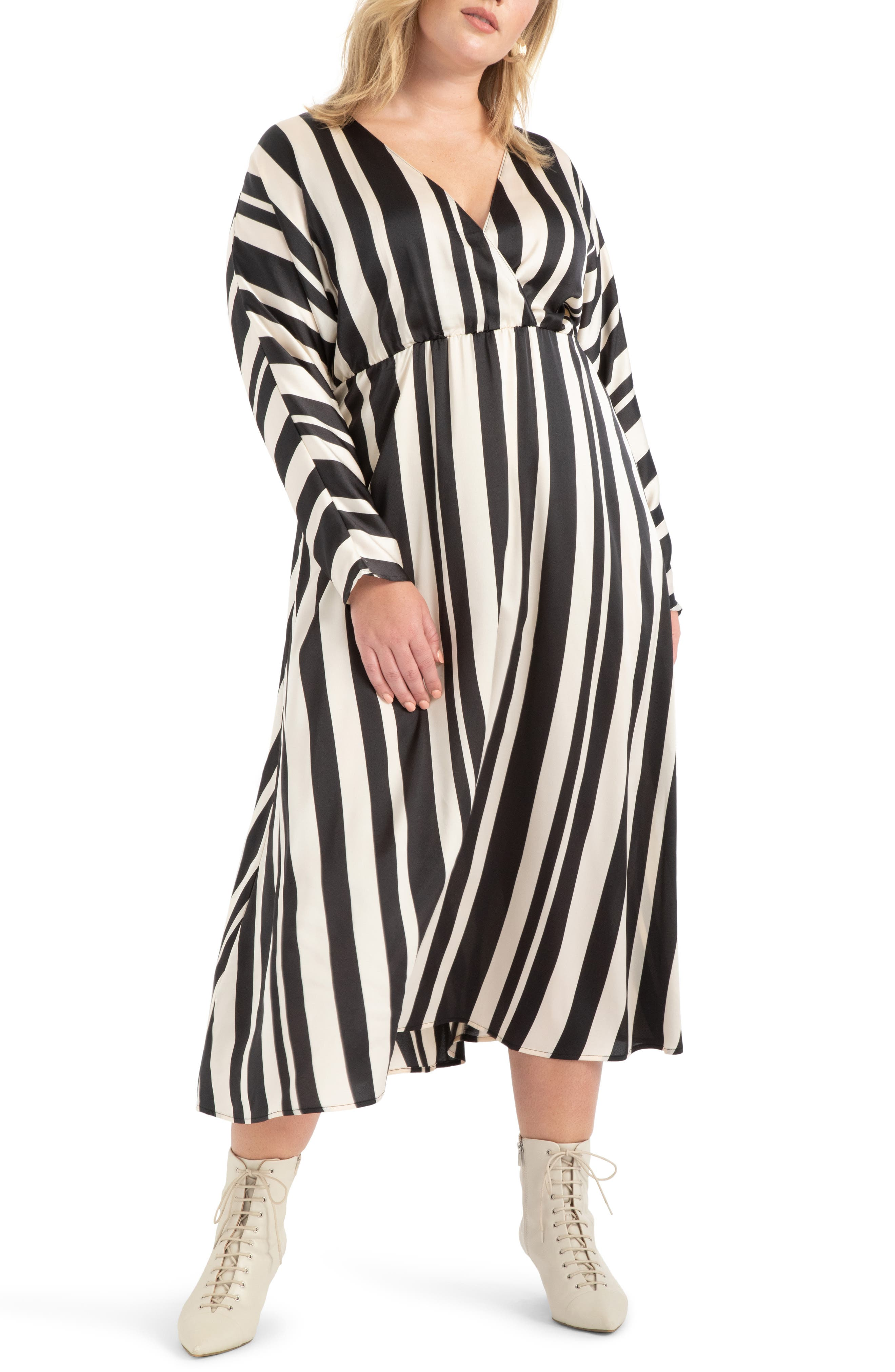 70s Dresses – Disco Dress, Hippie Dress, Wrap Dress Plus Size Womens Eloquii Stripe Maxi Dress Size 26W - Black $119.95 AT vintagedancer.com