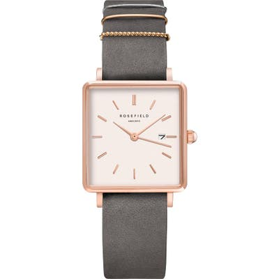 Rosefield The Boxy Leather Strap Watch, 2m X 2m