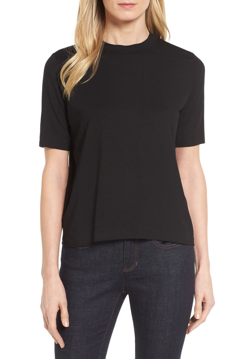 EILEEN FISHER Mock Neck Top, Main, color, 001