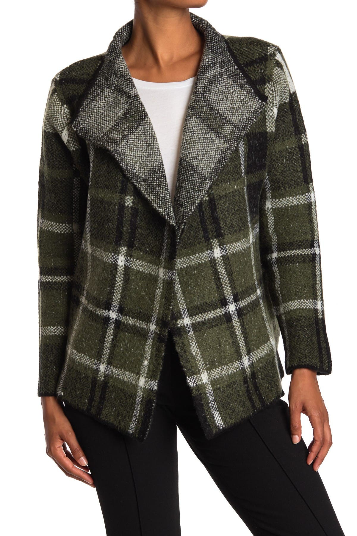 Image of JOSEPH A Plaid Open Front Cardigan Sweater Jacket