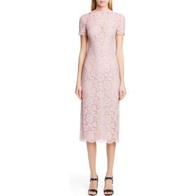 Valentino Lace Midi Sheath Dress, 8 IT - Pink