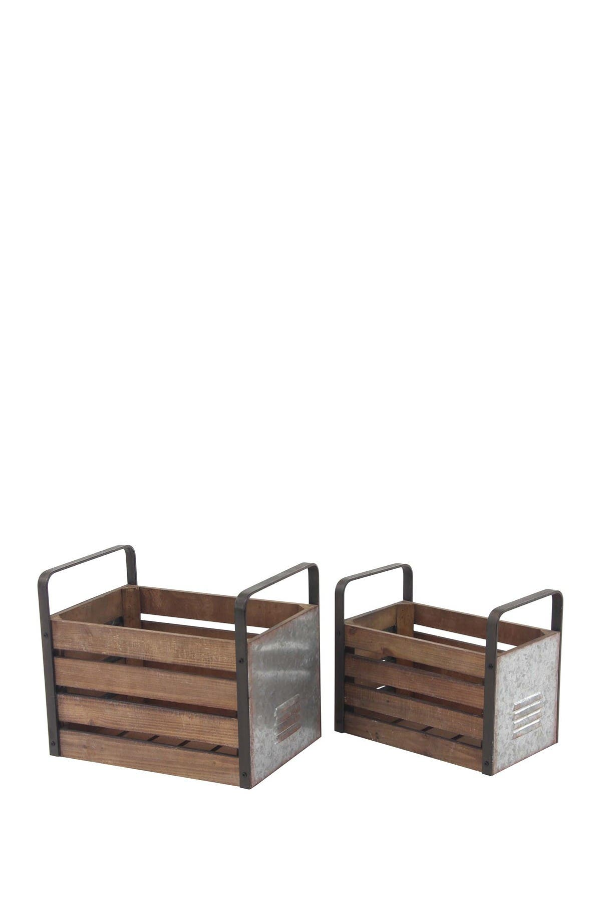 Image of Willow Row Beige Rustic Wood & Iron Slat Storage Crate - Set of 2