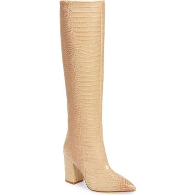 Paris Texas Croc Embossed Knee High Boot, Beige