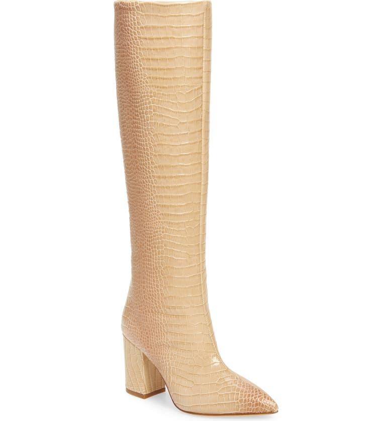 PARIS TEXAS Croc Embossed Knee High Boot, Main, color, 254