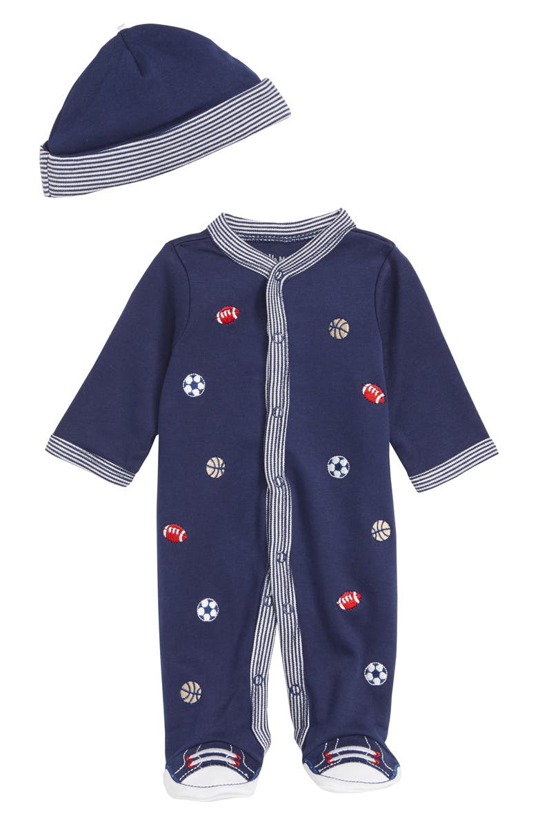 LITTLE ME Sports Footie & Hat Set, Main, color, MEDIEVAL BLUE/ MULTI