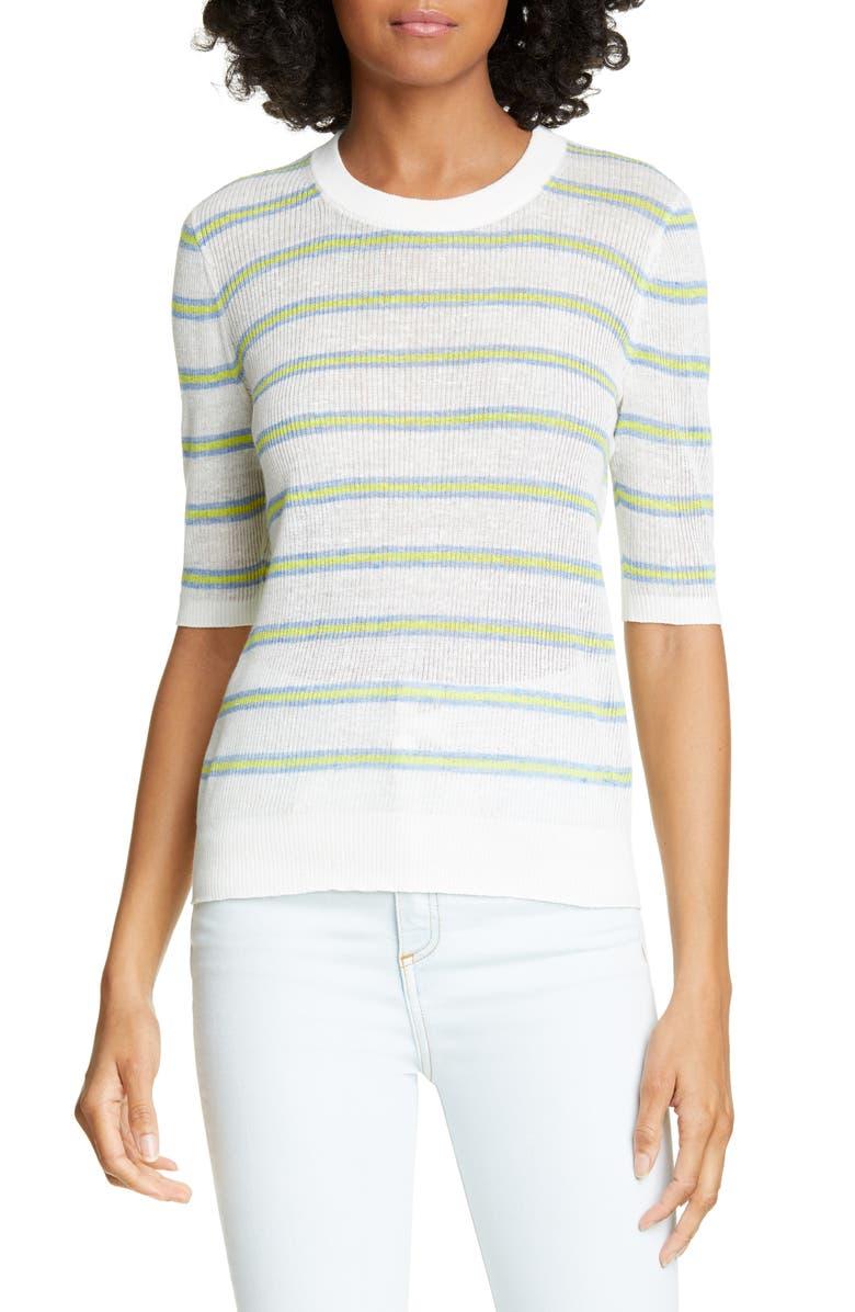 VERONICA BEARD Dean Linen Blend Sweater, Main, color, IVORY MULTI
