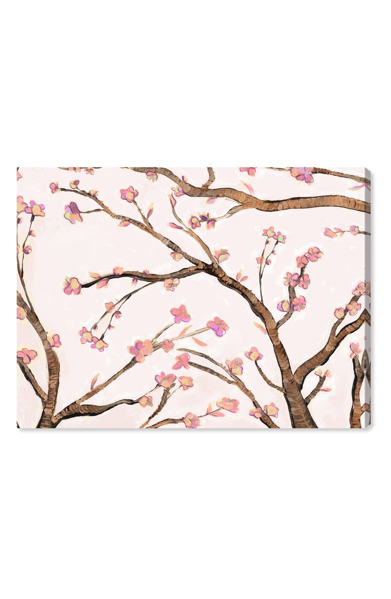 OLIVER GAL Pink Almond Blossom Canvas Wall Art, Main, color, PINK