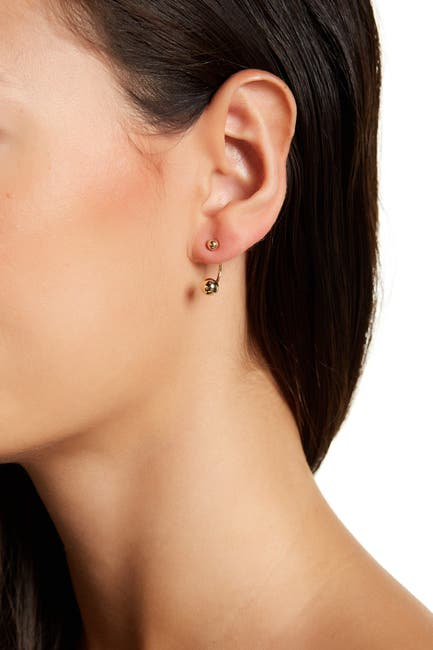 Image of Candela 14K Yellow Gold Front to Back Double Ball Stud Earrings