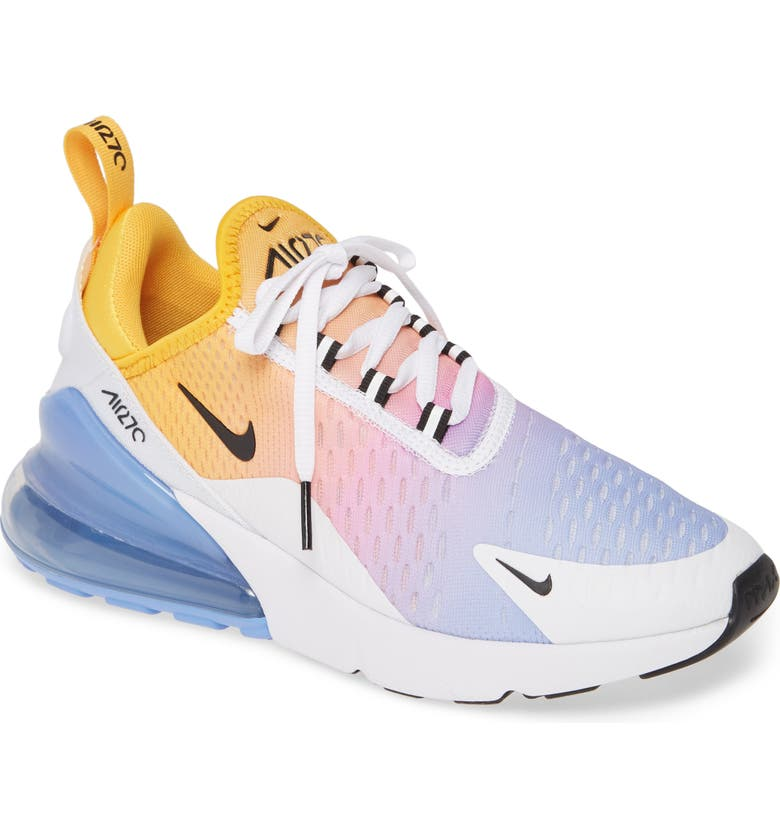 NIKE Air Max 270 Premium Sneaker, Main, color, UNIVERSITY GOLD/ BLACK/ BLUE