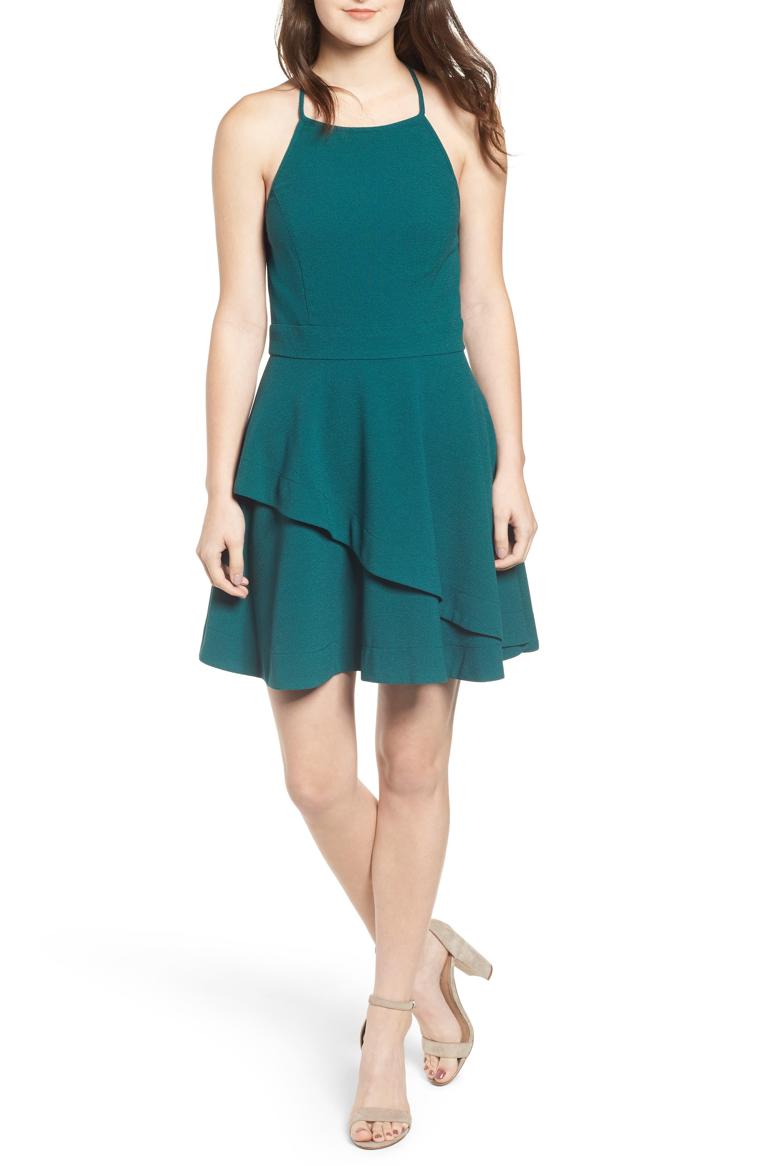 Speechless Crepe Layered Skater Dress, Green