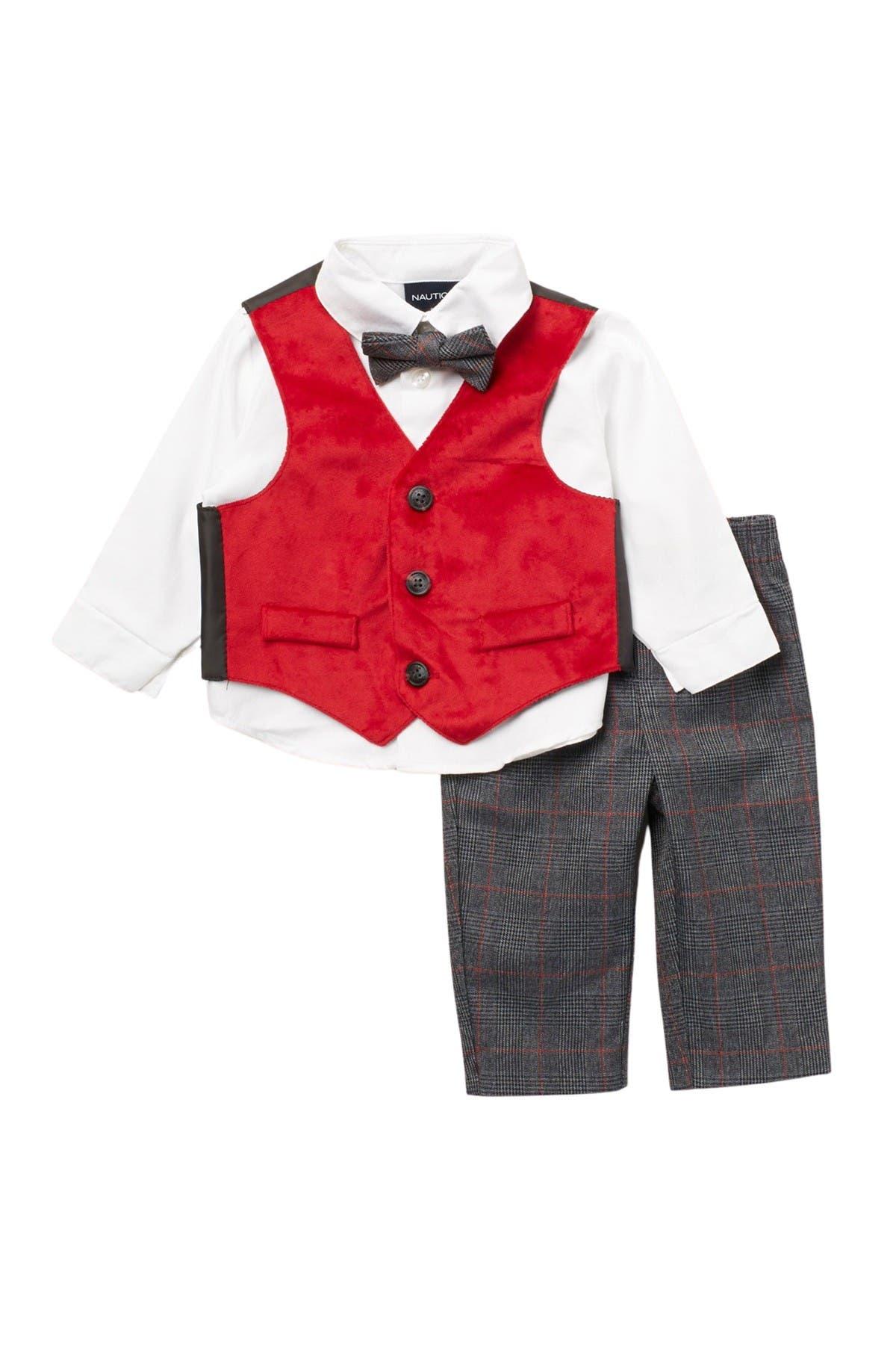 Image of Nautica Holiday Red Velvet Vest 3-Piece Set