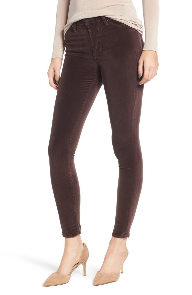 HUDSON JEANS Barbara High Waist Ankle Skinny Velvet Jeans, Main, color, ANTLER