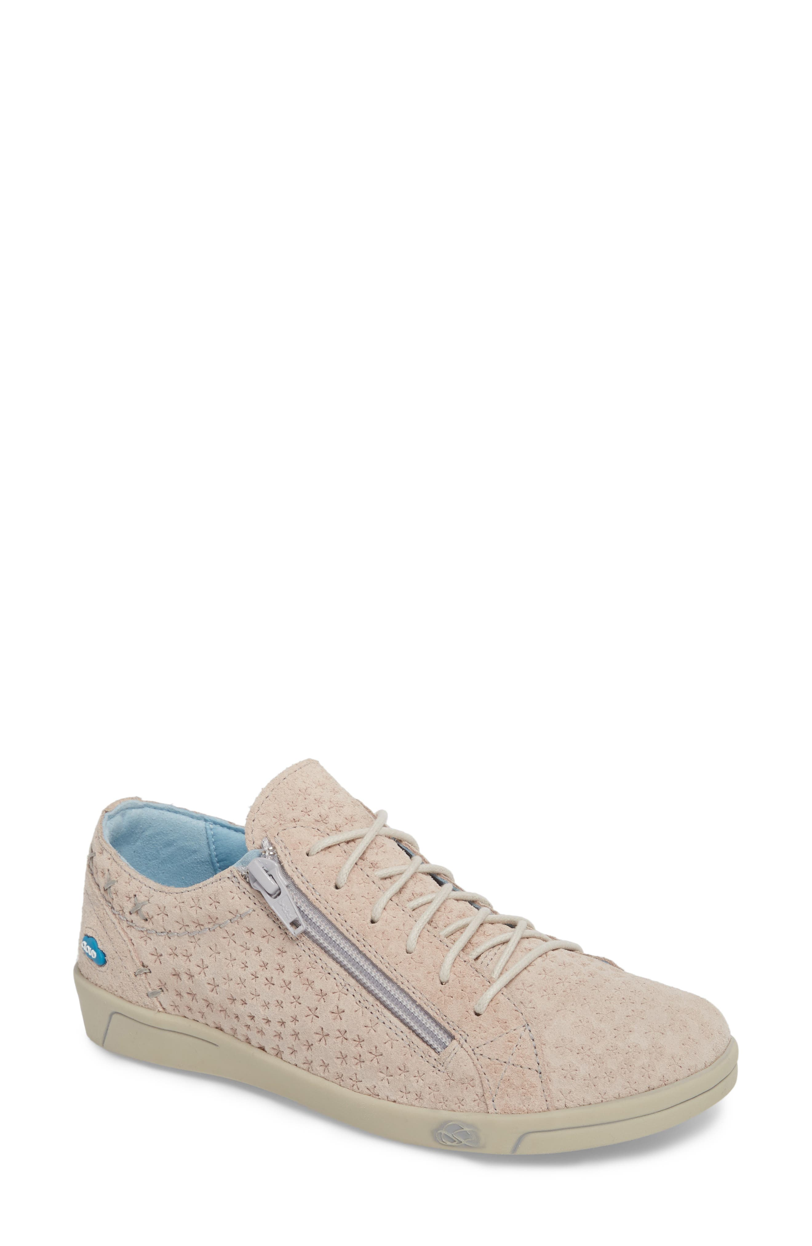 Subtle star perforations in the soft leather distinguish a casual, low-profile sneaker that instantly elevates your street style. Plush cushioning and an antimicrobial finish add impeccable comfort to the style. Style Name: Cloud Aika Star Perforated Sneaker (Women). Style Number: 5505798. Available in stores.