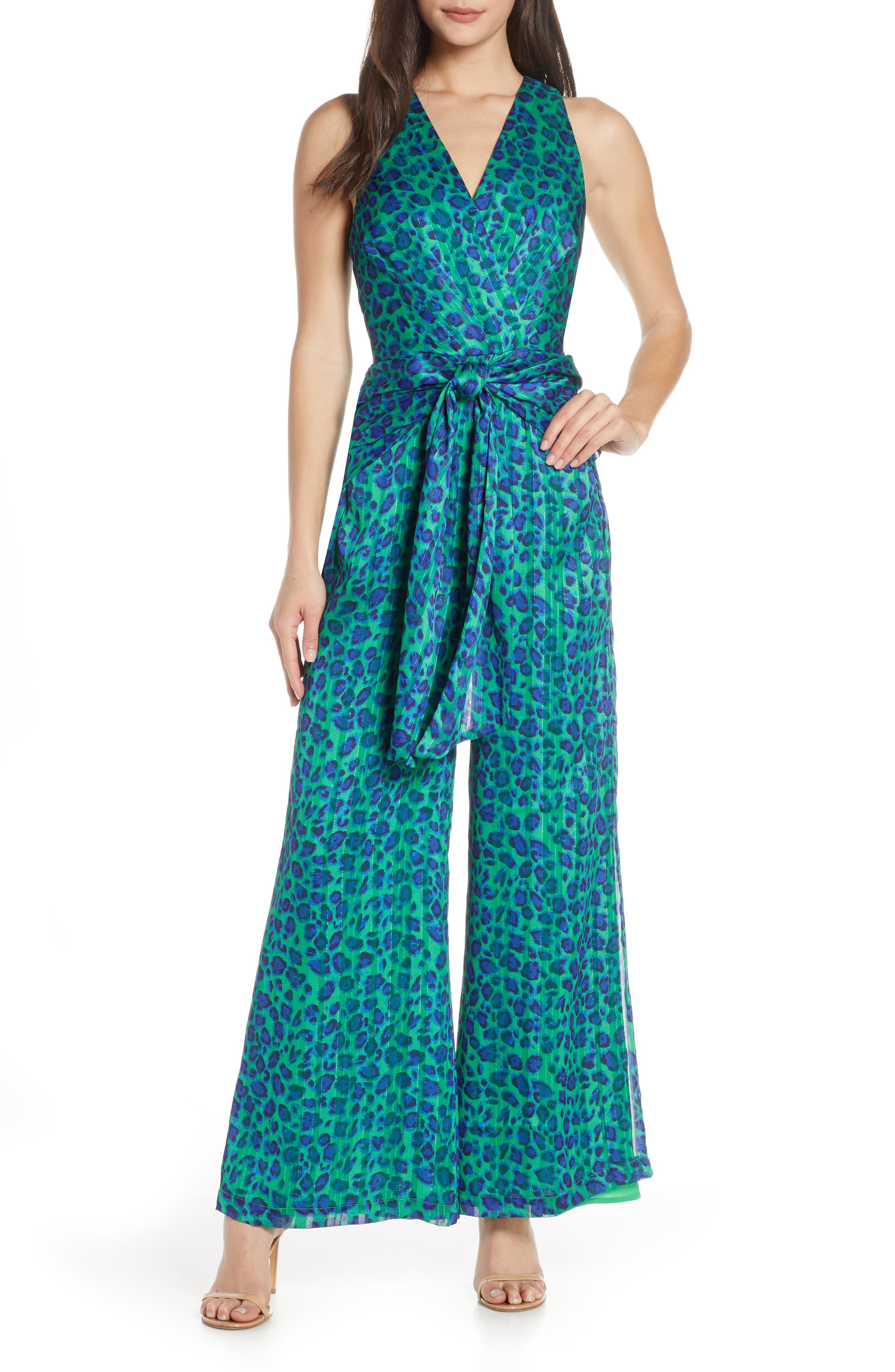 Harlyn Sleeveless Satin Burnout Jumpsuit, Blue/green