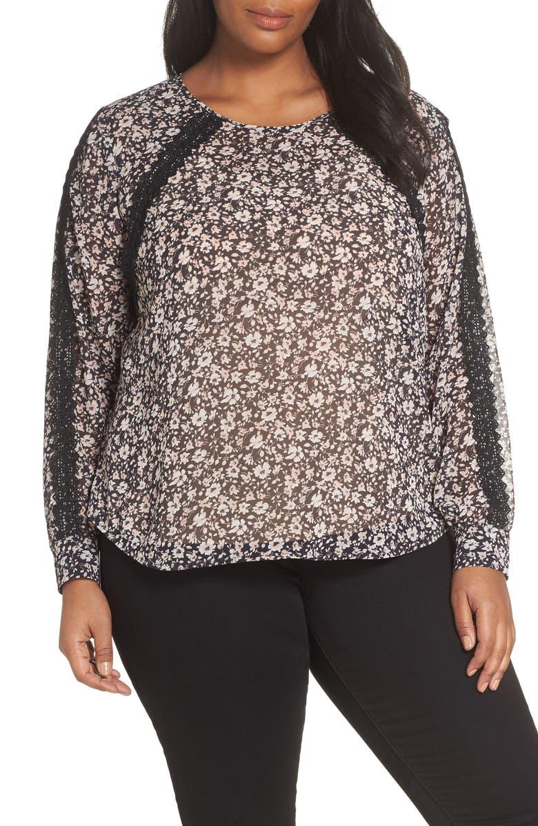 VINCE CAMUTO Ditsy Floral & Crochet Detail Blouse, Main, color, SOFT BLACK