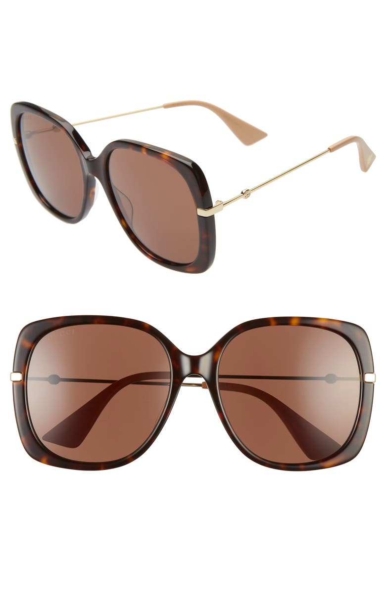 GUCCI 57mm Square Sunglasses, Main, color, HAVANA/ BROWN/ GOLD