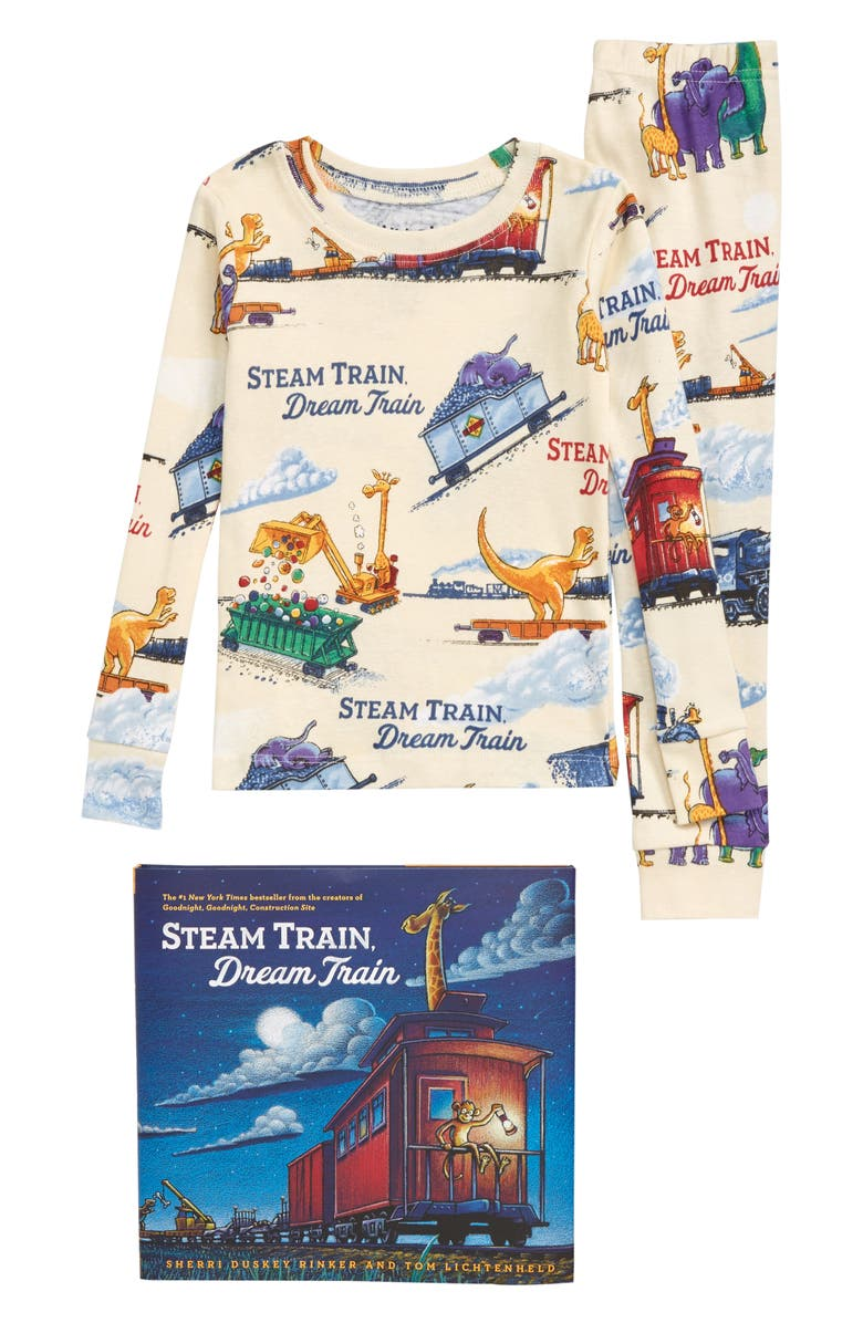 BOOKS TO BED Steam Train, Dream Train Fitted Two-Piece Organic Cotton Pajamas & Book Set, Main, color, NATURAL