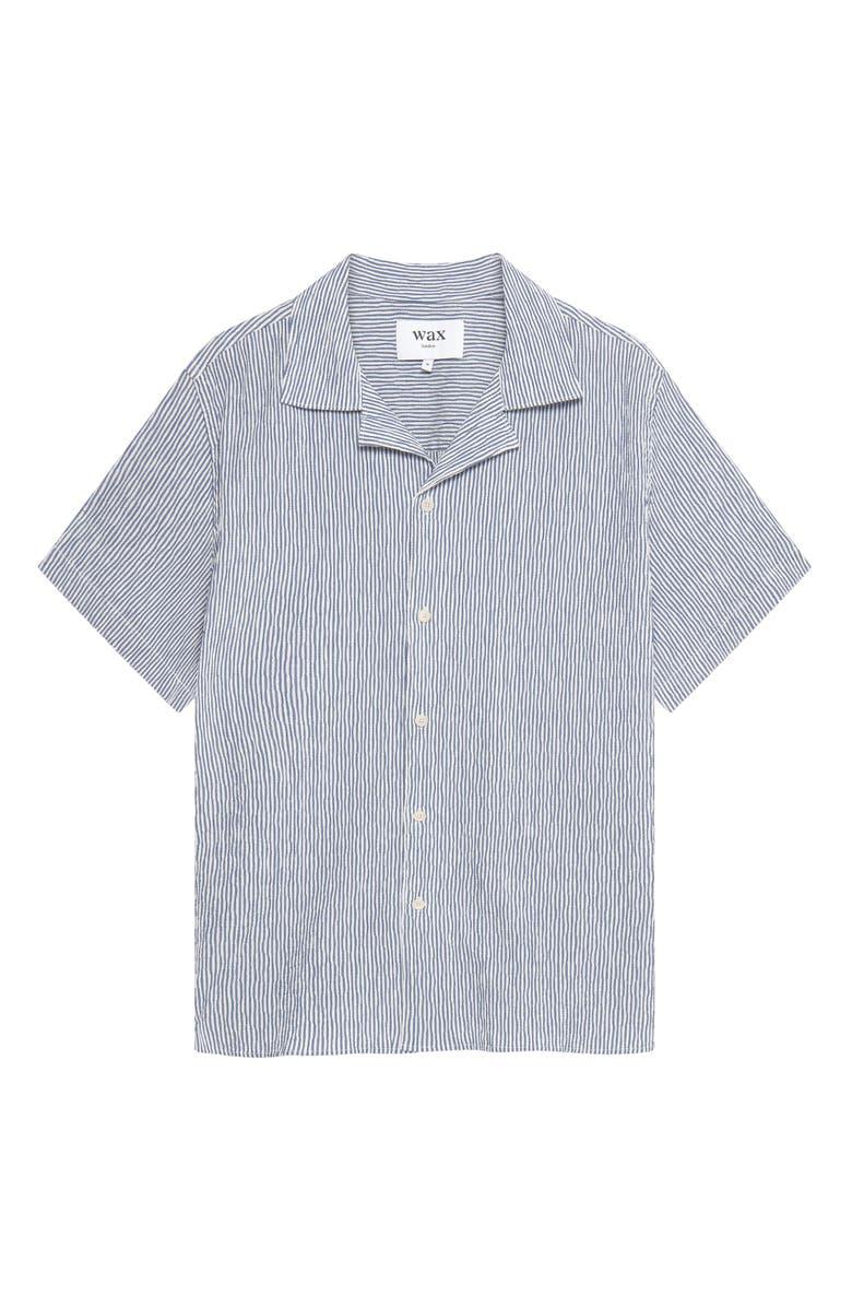 WAX LONDON Didcot Stripe Short Sleeve Button-Up Camp Shirt, Main, color, INDIGO WHITE STRIPE SEERSUCKER