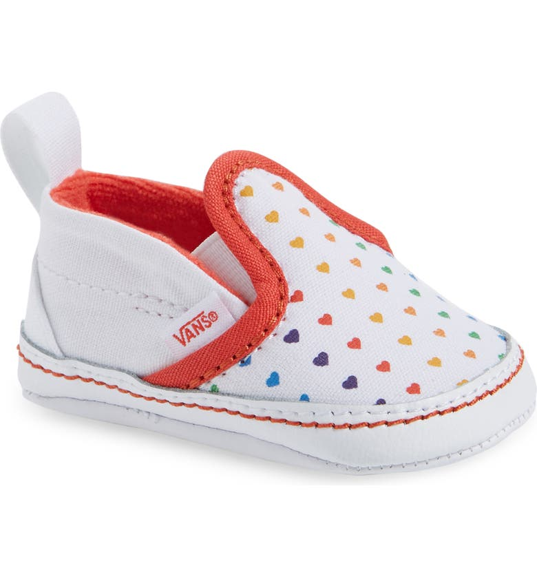 VANS V Slip-On Crib Shoe, Main, color, RAINBOW HEART/ TRUE WHITE