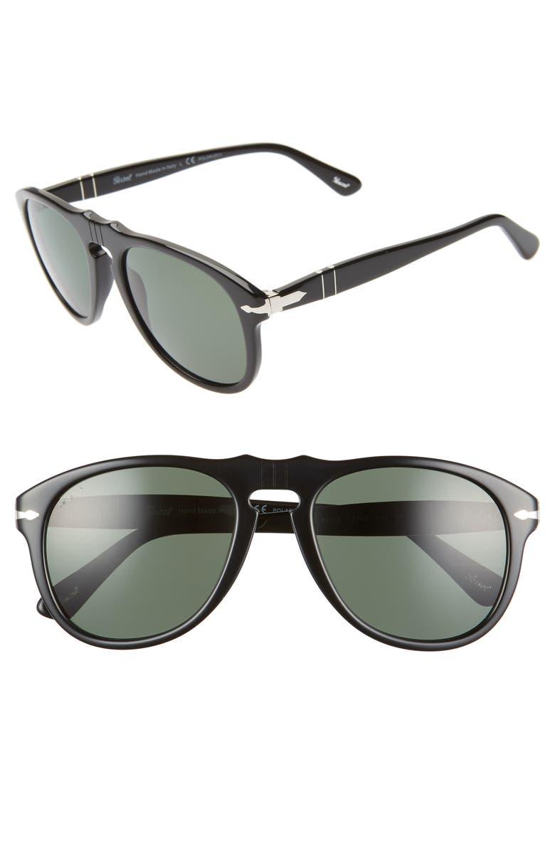 PERSOL Suprema 54mm Polarized Pilot Sunglasses, Main, color, 001