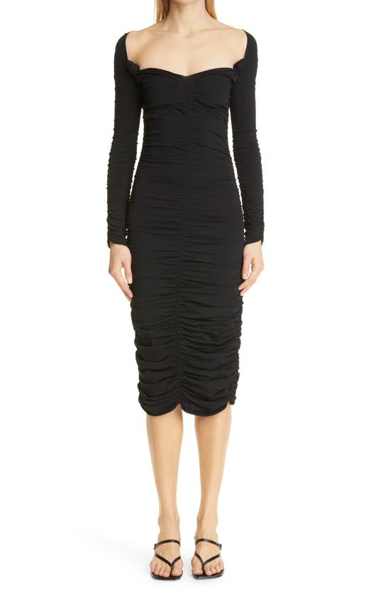 Khaite Knits CHARMAINE RUCHED LONG SLEEVE KNIT MIDI DRESS
